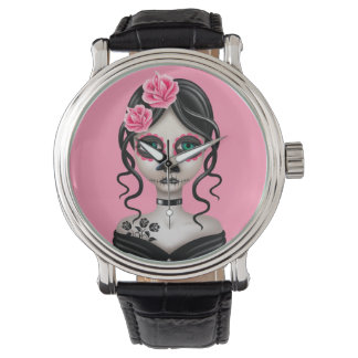 Día triste del chica muerto en rosa relojes