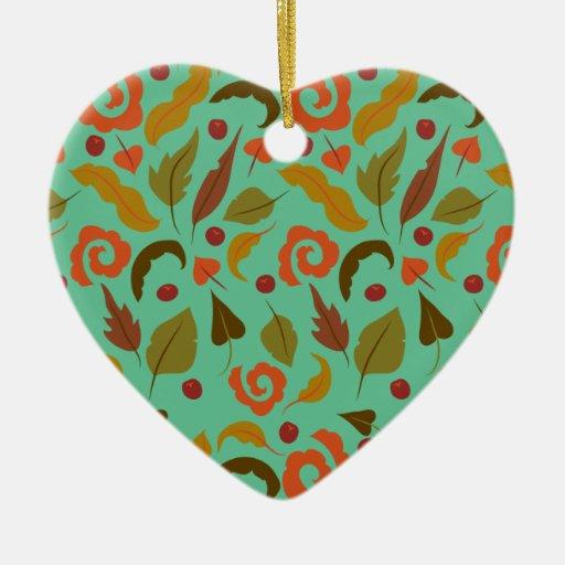 Día ventoso del otoño adorno de cerámica en forma de corazón