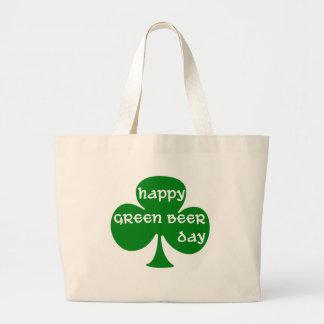 Día verde de la cerveza bolsa de tela grande