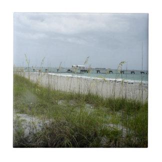Día violento en la playa azulejo cuadrado pequeño