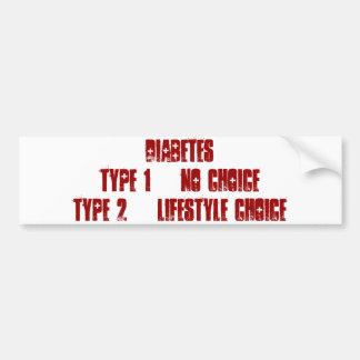 Diabetes 1 vs 2 bumpersticker bumper sticker