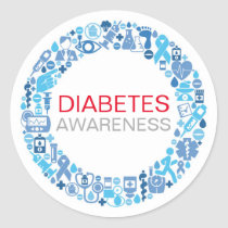Diabetes Awareness Blue Circle Sticker