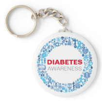 Diabetes Awareness blue circle with symbol Keychain
