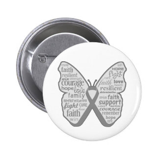Diabetes Awareness Butterfly Ribbon Button