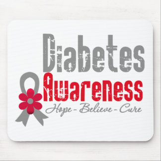 Diabetes Awareness Flower Ribbon Mouse Pad