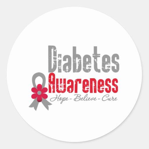 Diabetes Awareness Flower Ribbon Stickers