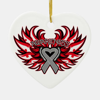 Diabetes Awareness Heart Wings Double-Sided Heart Ceramic Christmas Ornament