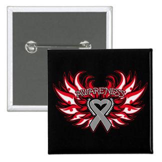 Diabetes Awareness Heart Wings.png Pinback Button