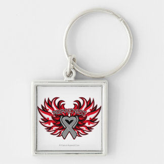 Diabetes Awareness Heart Wings.png Silver-Colored Square Keychain