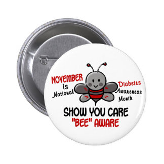 Diabetes Awareness Month Bee 1.1 2 Inch Round Button