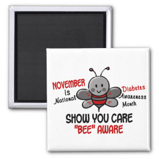 Diabetes Awareness Month Bee 1.1 2 Inch Square Magnet