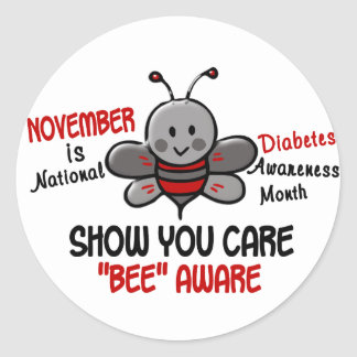 Diabetes Awareness Month Bee 1.1 Classic Round Sticker