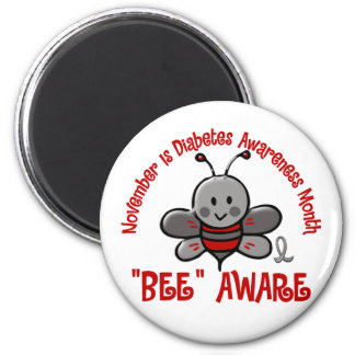 Diabetes Awareness Month Bee 1.2 2 Inch Round Magnet