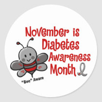 Diabetes Awareness Month Bee 1.3 Classic Round Sticker