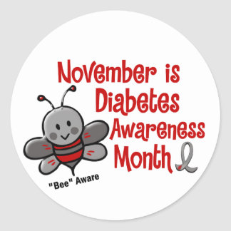 Diabetes Awareness Month Bee 1.3 Round Stickers