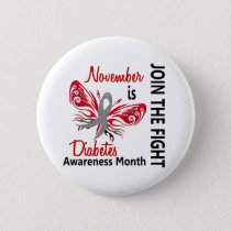 Diabetes Awareness Month Butterfly 3.1 Pinback Button