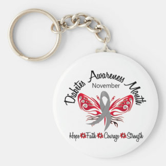 Diabetes Awareness Month Butterfly 3.2 Keychain