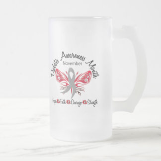 Diabetes Awareness Month Butterfly 3.2 16 Oz Frosted Glass Beer Mug