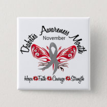 Diabetes Awareness Month Butterfly 3.2 Pinback Button