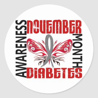 Diabetes Awareness Month Butterfly 3.4 Classic Round Sticker
