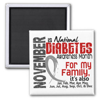 Diabetes Awareness Month Every Month For My Family 2 Inch Square Magnet