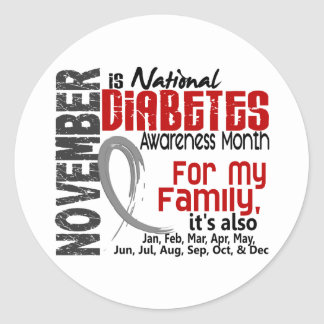 Diabetes Awareness Month Every Month For My Family Classic Round Sticker