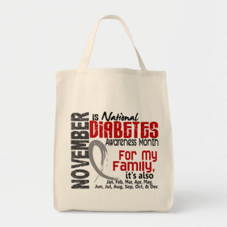 Diabetes Awareness Month Every Month For My Family Grocery Tote Bag
