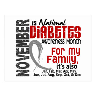 Diabetes Awareness Month Every Month For My Family Postcard