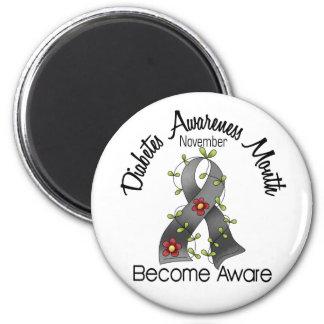 Diabetes Awareness Month Flower Ribbon 2 2 Inch Round Magnet