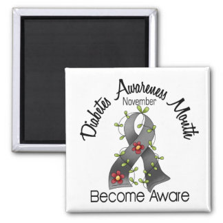 Diabetes Awareness Month Flower Ribbon 2 2 Inch Square Magnet