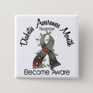 Diabetes Awareness Month Flower Ribbon 2 Button