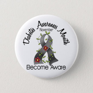 Diabetes Awareness Month Flower Ribbon 2 Button