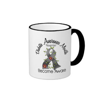 Diabetes Awareness Month Flower Ribbon 2 Ringer Coffee Mug