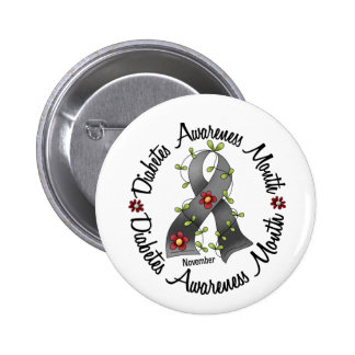 Diabetes Awareness Month Flower Ribbon 3 Button