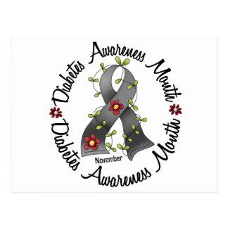 Diabetes Awareness Month Flower Ribbon 3 Postcard