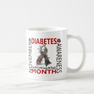 Diabetes Awareness Month Flower Ribbon 4 Coffee Mugs
