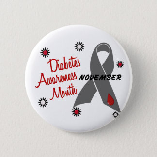 Diabetes Awareness Month Grey Ribbon 1.1 Button