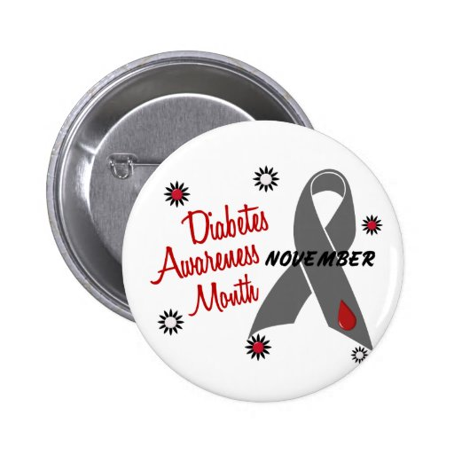 Diabetes Awareness Month Grey Ribbon 1.1 Pinback Buttons