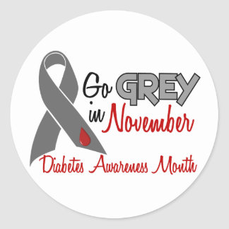 Diabetes Awareness Month Grey Ribbon 1.2 Classic Round Sticker
