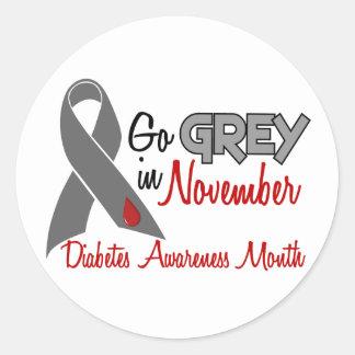 Diabetes Awareness Month Grey Ribbon 1.2 Classic Round Sticker