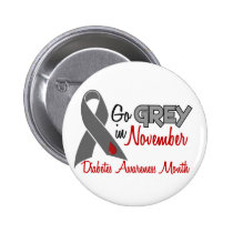 Diabetes Awareness Month Grey Ribbon 1.2 Pinback Button