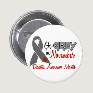 Diabetes Awareness Month Grey Ribbon 1.2 Pinback Button