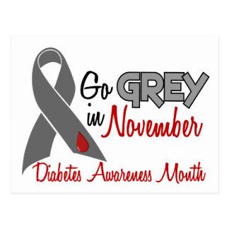 Diabetes Awareness Month Grey Ribbon 1.2 Postcard