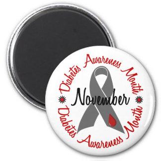 Diabetes Awareness Month Grey Ribbon 1.3 2 Inch Round Magnet