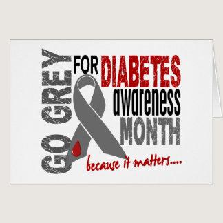 Diabetes Awareness Month Grey Ribbon 1.4 Card