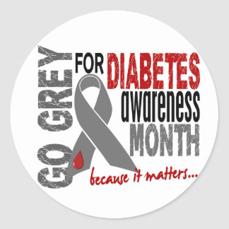 Diabetes Awareness Month Grey Ribbon 1.4 Classic Round Sticker