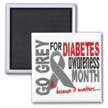 Diabetes Awareness Month Grey Ribbon 1.4 Fridge Magnet