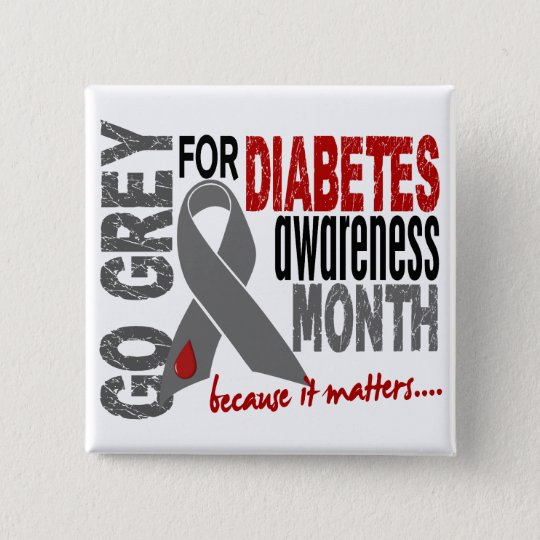 Diabetes Awareness Month Grey Ribbon 1.4 Pinback Button