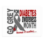 Diabetes Awareness Month Grey Ribbon 1.4 Postcard