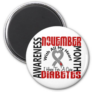 Diabetes Awareness Month Heart 1.1 2 Inch Round Magnet